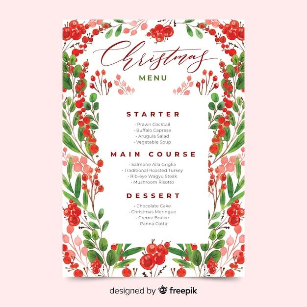 Aquarel kerst menusjabloon met bladeren en fruit Gratis Vector