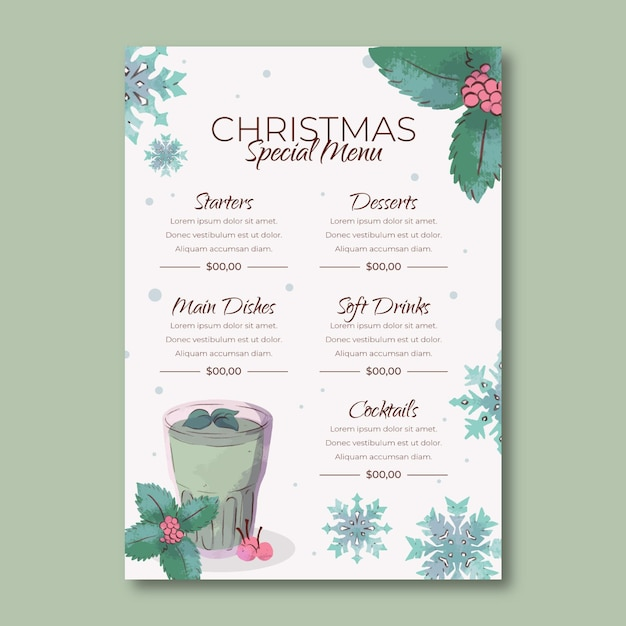 Aquarel kerst menusjabloon Gratis Vector