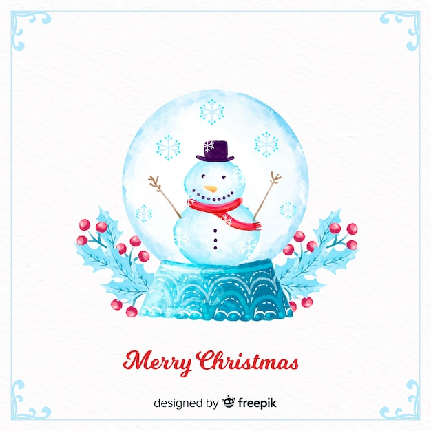 Aquarel kerst sneeuwbal globe Gratis Vector