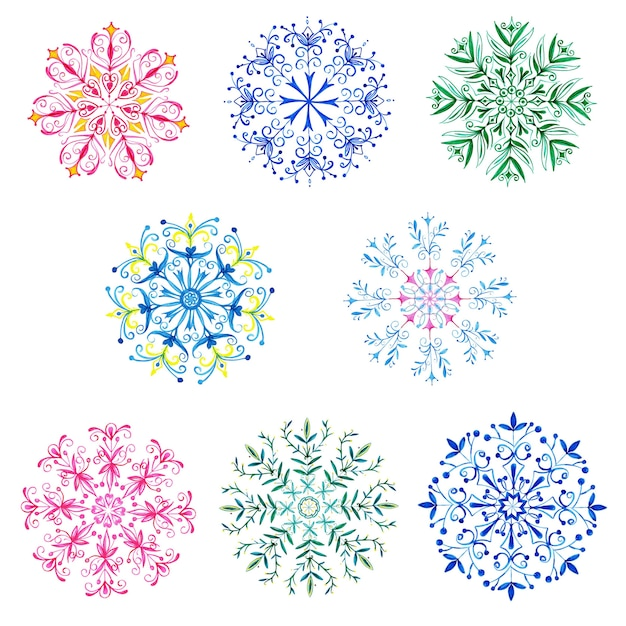 Aquarel kerst sneeuwvlokken collectie Premium Vector