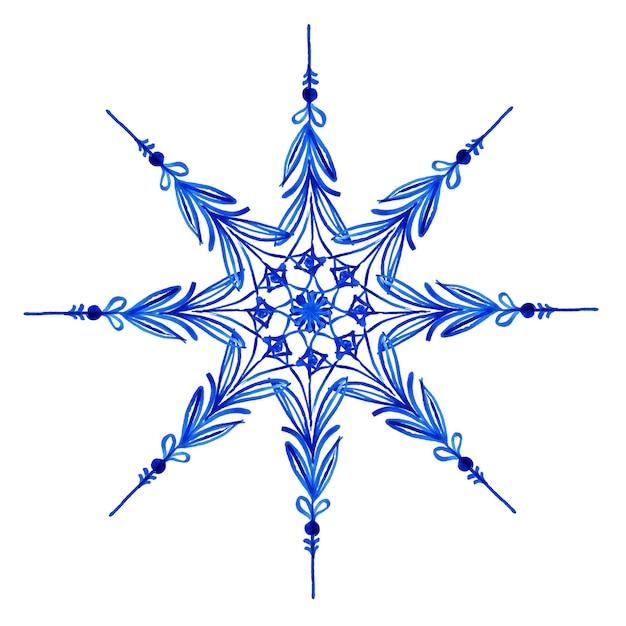 Aquarel kerst sneeuwvlokken Premium Vector
