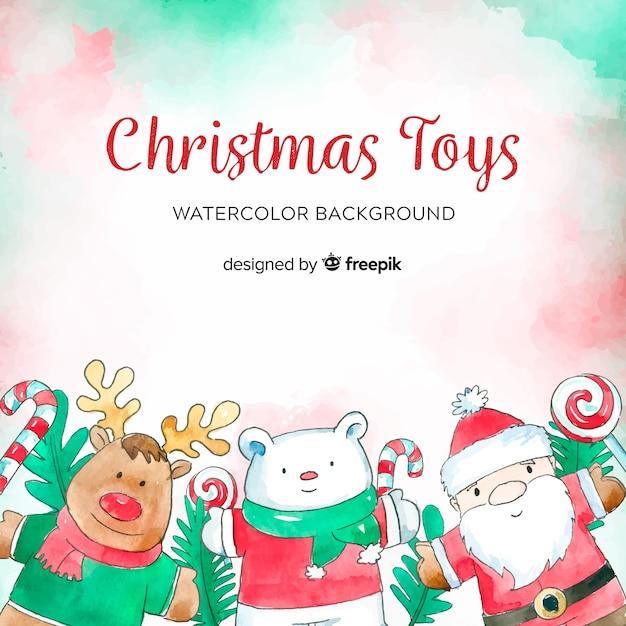Aquarel kerst speelgoed achtergrond Gratis Vector