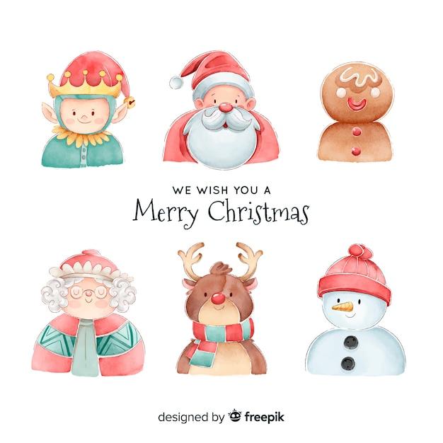 Aquarel kerst tekensverzameling Gratis Vector