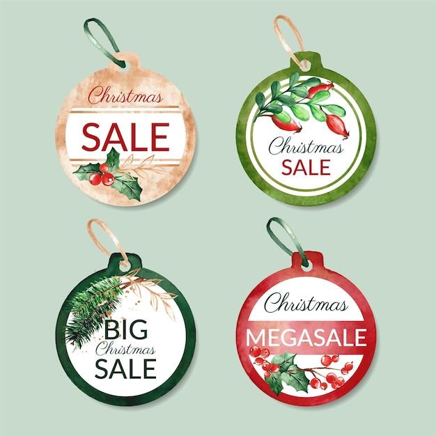 Aquarel kerst verkoop tag collectie Gratis Vector