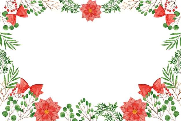 Aquarel kerstboom takken achtergrond Gratis Vector