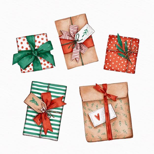 Aquarel kerstcadeau collectie Gratis Vector