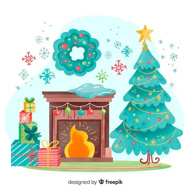Aquarel kerstdecoratie binnenshuis Gratis Vector