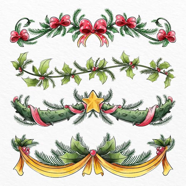 Aquarel kerstdecoratie Premium Vector