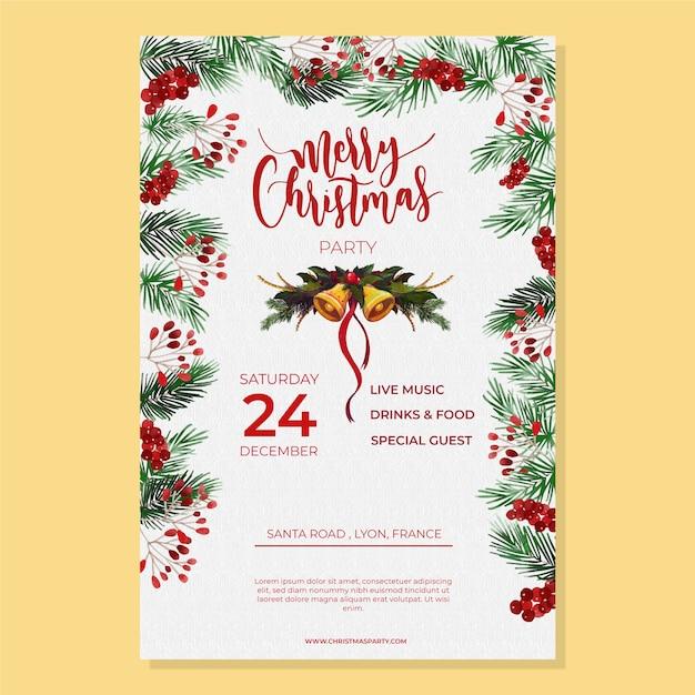 Aquarel kerstfeest poster sjabloon Gratis Vector