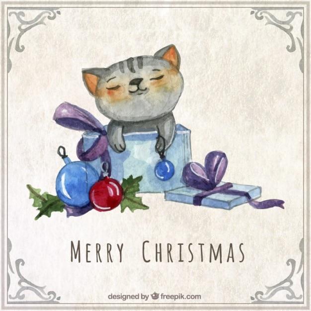Aquarel Kerstkaart van de Kat Vector | Gratis Download