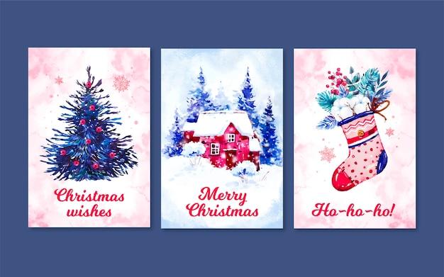 Aquarel kerstkaarten collectie sjabloon Premium Vector