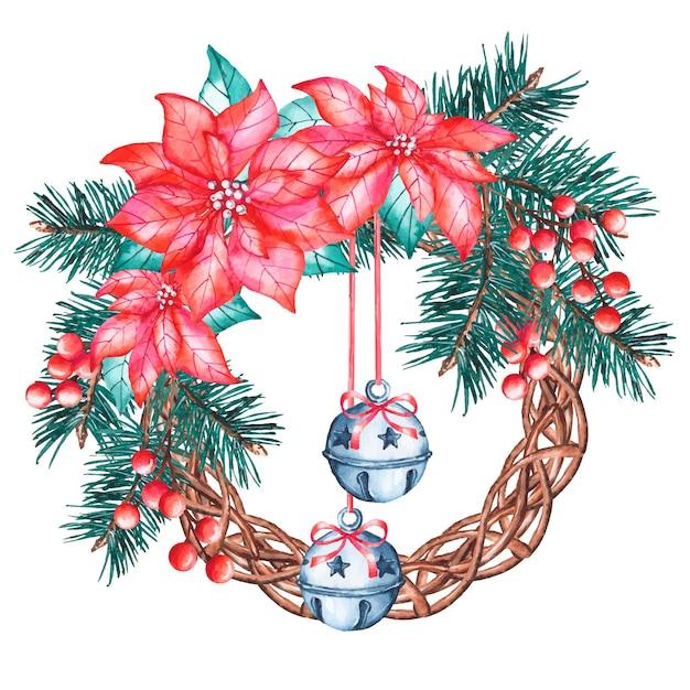 Aquarel kerstkrans met poinsettia bloem Gratis Vector