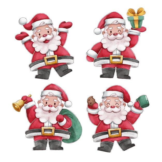 Aquarel kerstman karakter collectie Gratis Vector