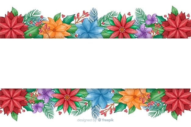 Aquarel kerstmis achtergrond met kleurrijke bloemen Gratis Vector
