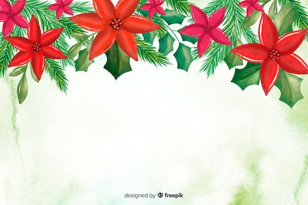 Aquarel kerstmis achtergrond met kopie ruimte Gratis Vector