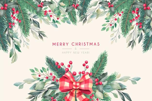 Aquarel kerstmis achtergrond met winter aard Gratis Vector