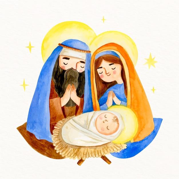 Aquarel kerststal met baby jezus Gratis Vector