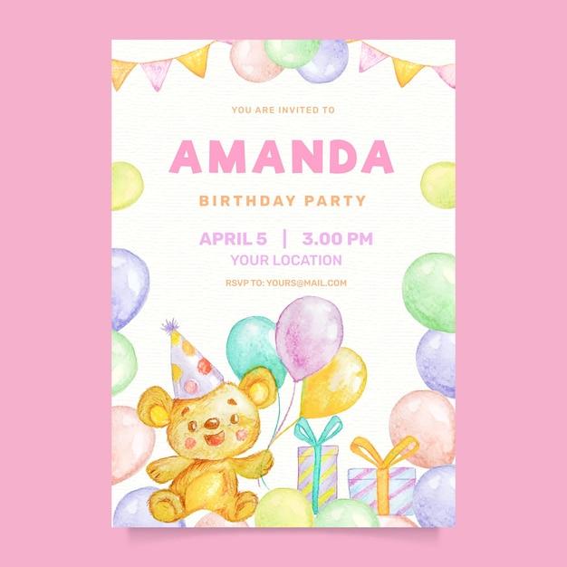 Aquarel kinderen verjaardagsuitnodiging met ballonnen Gratis Vector