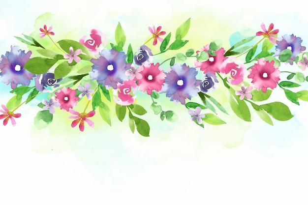 Aquarel kleurrijke bloemen behang Gratis Vector