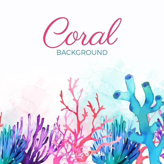 Aquarel kleurrijke koraal achtergrond Gratis Vector