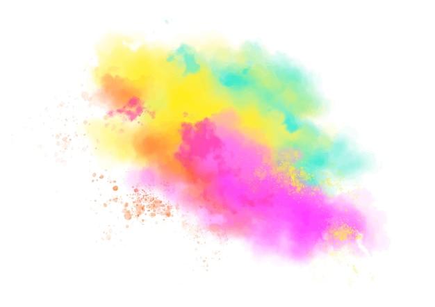 Aquarel kleurrijke stofwolk Gratis Vector