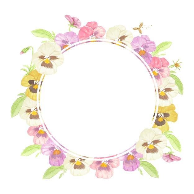 Aquarel kleurrijke viooltje bloem krans frame geïsoleerd op een witte achtergrond Premium Vector
