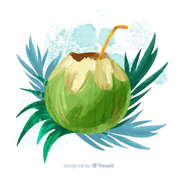 Aquarel kokosnoot achtergrond Gratis Vector