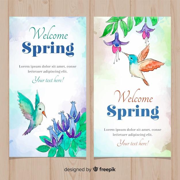 Aquarel kolibrie voorjaar banner Gratis Vector