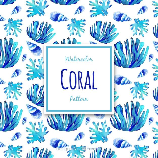 Aquarel koraal achtergrond Gratis Vector