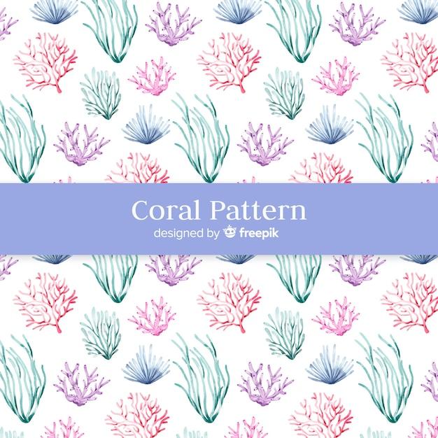 Aquarel koraal patroon Gratis Vector