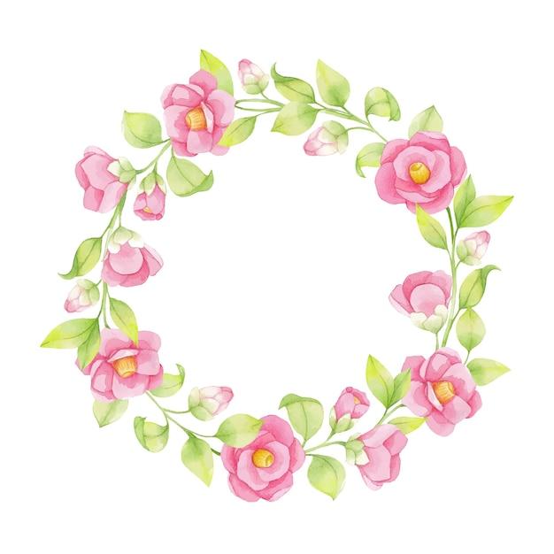 Aquarel krans van roze bloemen en groene twijgen, bladeren geïsoleerd op een witte achtergrond, japanse camelia Premium Vector