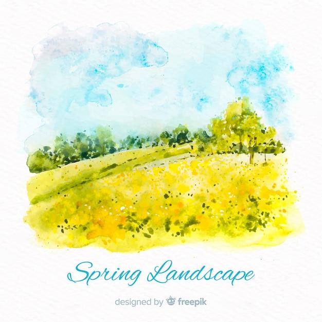 Aquarel landschap lente achtergrond Gratis Vector