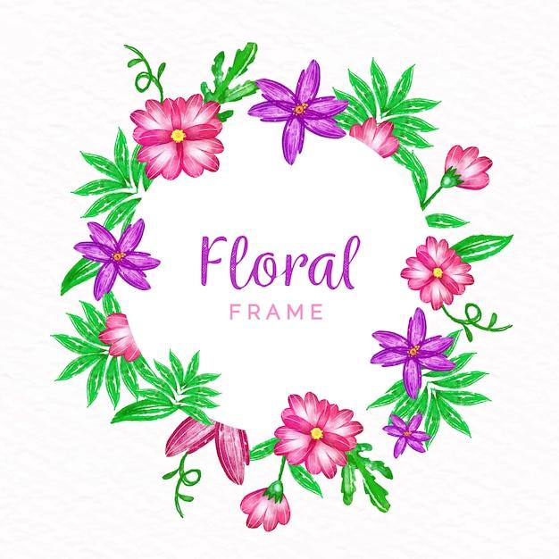 Aquarel lente bloemen frame concept Gratis Vector
