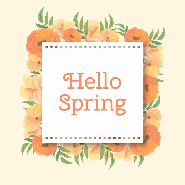 Aquarel lente bloemen frame met gestippelde rand Gratis Vector