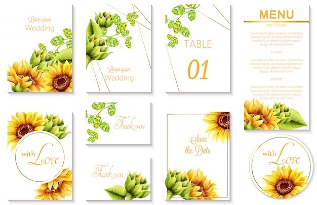 Aquarel lente bruiloft evenement uitnodigingskaarten met groene artisjok en zonnebloem Gratis Vector