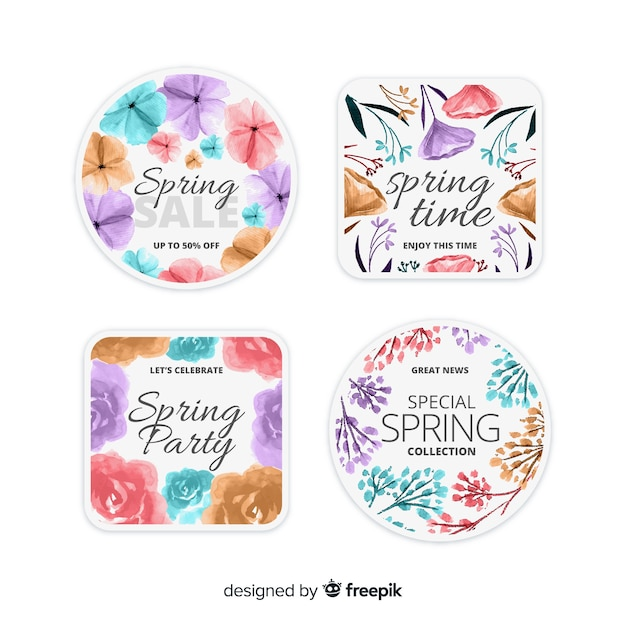 Aquarel lente labelverzameling Gratis Vector