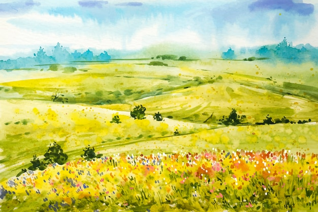 Aquarel lente landschap achtergrond Gratis Vector