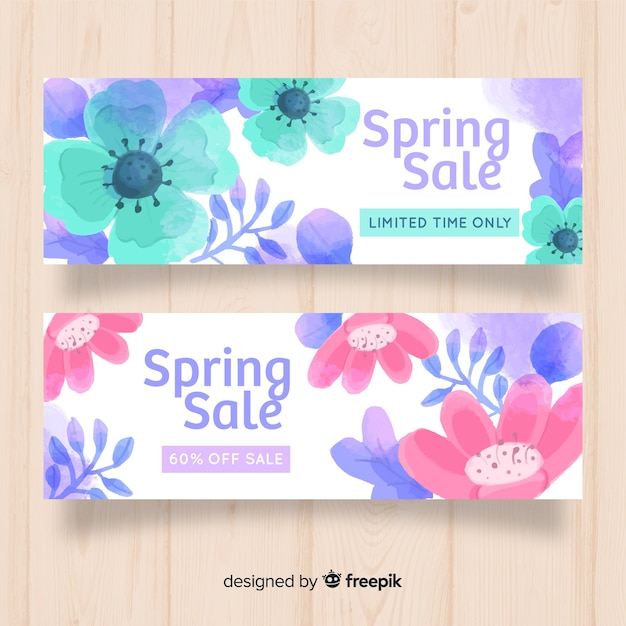 Aquarel lente verkoop banner Gratis Vector