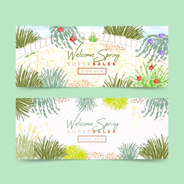 Aquarel lente verkoop banners Gratis Vector