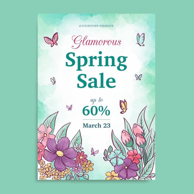 Aquarel lente verkoop sjabloon folder met vlinders Gratis Vector