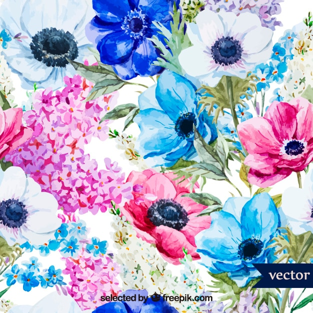 Aquarel lentebloemen Gratis Vector