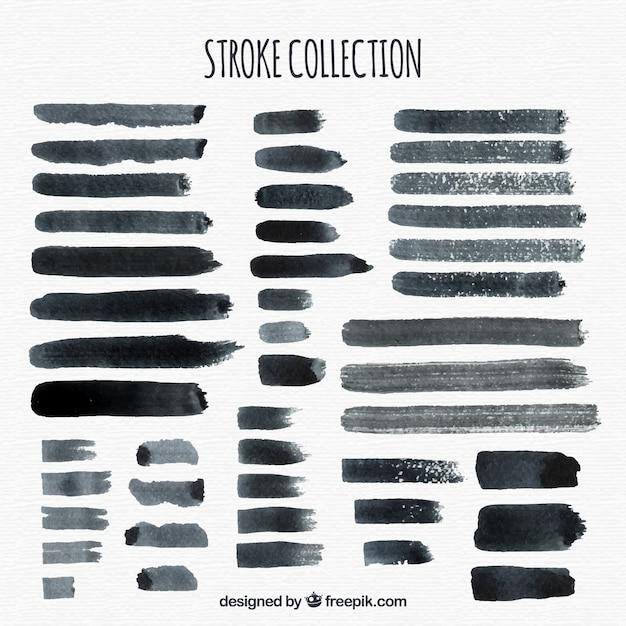 Aquarel lijnen collectie in zwarte kleur Gratis Vector