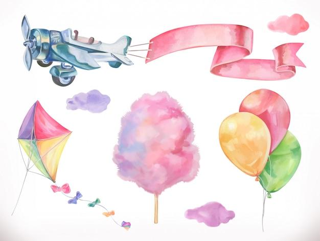 Aquarel lucht. vlieger, vliegtuig, suikerspin en wolken, ballonnen. reeks Premium Vector