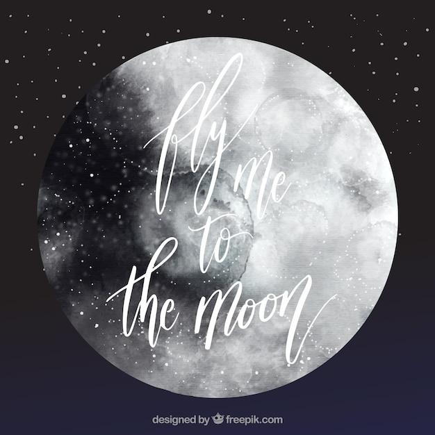 Aquarel maan achtergrond Gratis Vector