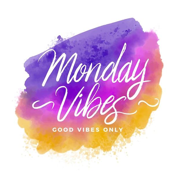 Aquarel maandag belettering positief bericht Premium Vector
