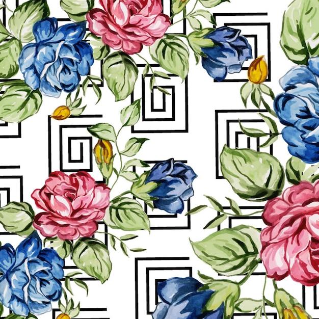 Aquarel memphis floral achtergrond Premium Vector