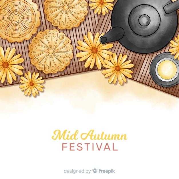 Aquarel midden herfst festival Gratis Vector