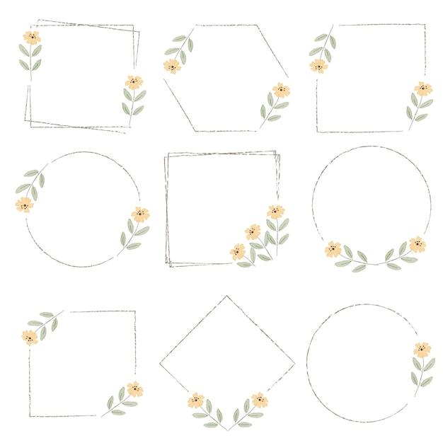 Aquarel minimale gele wilde kleine kosmos bloem krans frame collectie digitaal schilderen Premium Vector