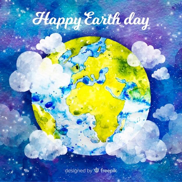 Aquarel moeder aarde dag achtergrond Gratis Vector