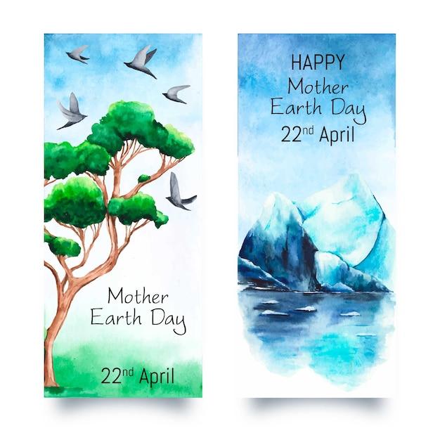 Aquarel moeder aarde dag banner collectie Gratis Vector